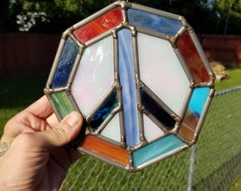 Stained Glass peace sign hippie handmade
