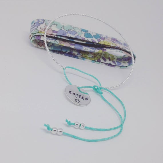 Personalized Bangle (plated) silver twist, 1 custom engraving and its small cord colorful (of your choice)