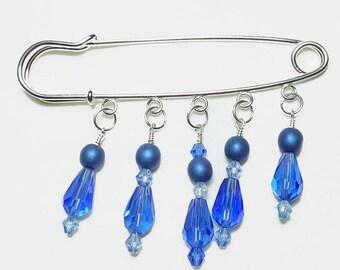 Something Blue Crystal Beaded Shawl Brooch Kilt Pin