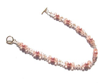 Rose Pink Pearl Crystal 14K Beaded Ankle Bracelet 9