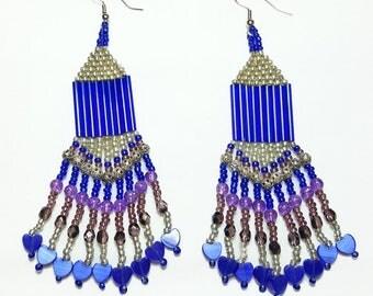 Blue Purple Hearts Beaded Dangle Earrings