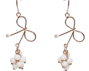 Bow earrings romantic metal White Pearl Crystal Ribbon white