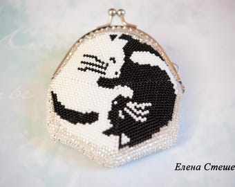 "Purse for coins ""Cats yin yang"""