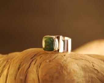 """Stone silver ring turquoise square ' cuadrado"""