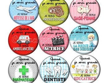 Set of 15 cabochons 25mm epoxy stickers when I grow...