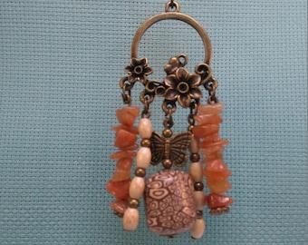 §80§ bronze color necklace, polymer