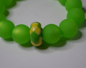 Green bracelet with beautiful glass beads from Elba
