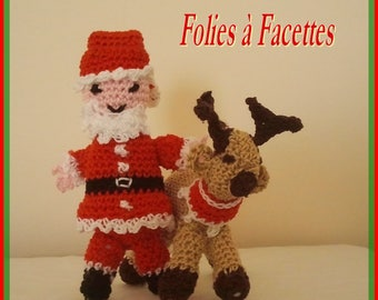 Christmas figurine: Santa and his reindeer in crochet cotton