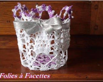 Wedding, baptism, communion: cut, purple and white cotton crocheted basket