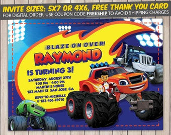 Blaze and the Monster Machines Invitation, Blaze and the Monster Machines Birthday, Blaze and the Monster Machines Birthday Invitation