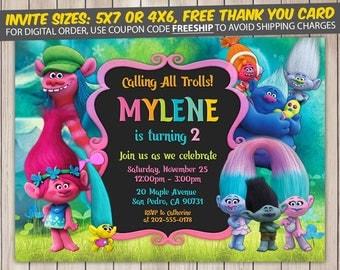 Trolls Invitation, Trolls Birthday, Trolls Birthday Invitation, Trolls Party, Trolls Invite, Trolls Printable, FREE 4x6 Thank You Card