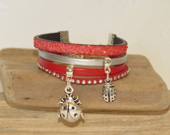 "Girl ""ladybugs"" leather Cuff Bracelet leather, suede - red and silver glitter"