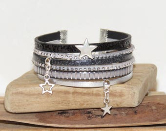"""Little grey stars"" leather, leather Cuff Bracelet sequins, silver, black and grey suede"
