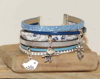 """Blueberry flowers"" Cuff Bracelet with sequins, pastel blue color Suede, leather, blue"