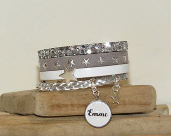 Cuff Bracelet personalized with the name of your choice of leather and suede star, white, grey and silver