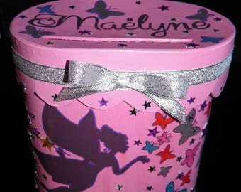 URN for baptism, themed fairy and butterflies, pink, purple color, glitter silver, personalized