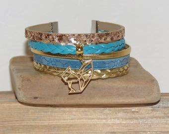 Cuff Bracelet, blue turquoise, gold, leather, suede sequins, origami squirrel, women bracelet, gift idea, charm