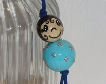 "Wood beads doll Keychain, bag charm, ""smile ball"" entirely handpainted, personalized, turquoise blue color"