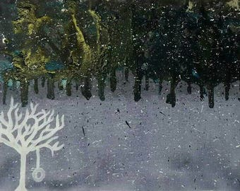 VIBRANT INKS on canvas DESERTED rain storm!!! Medium canvas