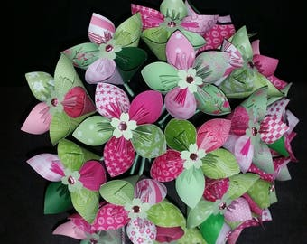 Example 21 origami paper Flower Bouquet pink and green