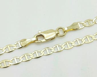 "10k Solid Yellow Gold Mariner Anchor Bracelet Chain 7"" 3.2mm Women"