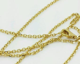 "14k Solid Yellow Gold High Polish Cable Link Pendant Necklace Chain 16""-30"" 1.5mm"