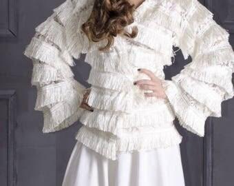 Wedding cape from fringe, fringe lace bolero, bridal cape, fringe . Ivory bridal cape.