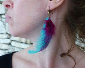 """Fin"" plum and teal feather earrings"