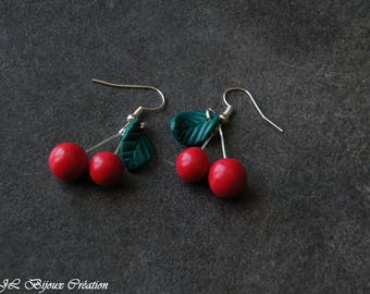 Earring large cherry Fimo