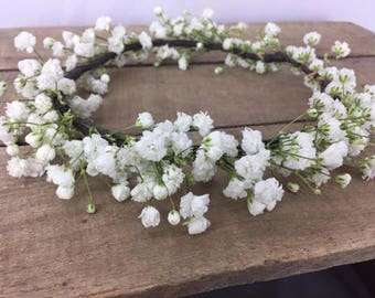 Fresh petite Baby's breath flower crown, babys breath crown, flower crown, Flower girl crown, photo prop, small crown, wispy crown, crowns
