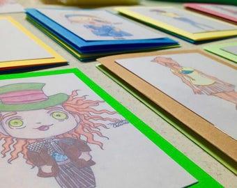 Chibi Cards, Manga, Original Artwork, Print, Hand-Made, Blank Greeting Card
