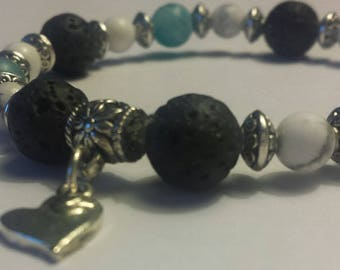Gorgeous blue agate, lava stone, and white howlite beaded bracelet with heart charm