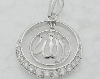 Allah necklace pendant woman CZ jewelry
