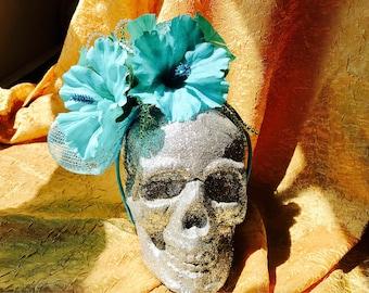 Tropical blue flower fascinator