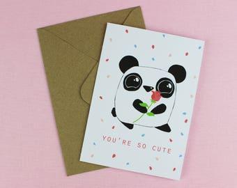 Cute Boyfriend Card / Love card / Cute card / You're cute Card / Panda love card / Girlfriend Card / Anniversary card / Cute Card for him.