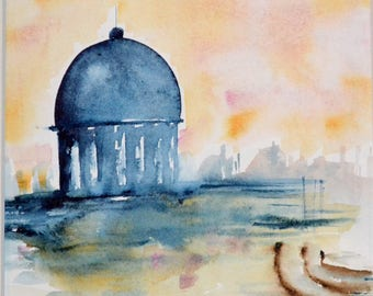 Watercolor, dome, small painting of Venice