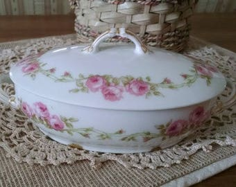 Small French Dish with Lid & Roses