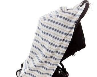 Navy and Cream Bay Stripes Travel Blanket