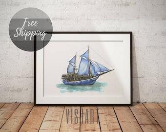 Nautical wall decor nursery prints sailboat painting on canvas Ocean art ships drawings sea artwork for kids room wall decor boat watercolor
