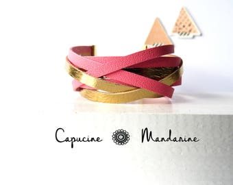 Leather strap bracelet - gold Rose