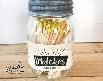 Yellow Tip Colored Matches. Match Sticks Decorative Mason Jar. Farmhouse Home Decor. Unique Gifts for her Best Seller Most Popular Item