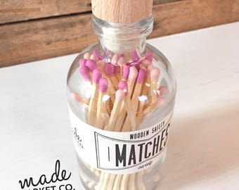 Fuchsia & Nude Tip Colored Matches Mix Match Sticks Decorative Glass Bottle Farmhouse Home Decor Unique Gifts Best Seller Most Popular Item
