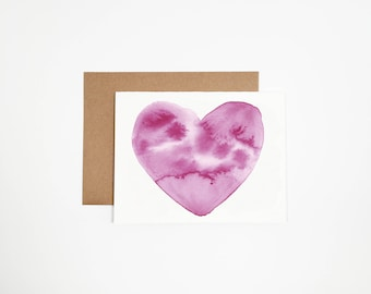 Valentines Watercolor Heart Card
