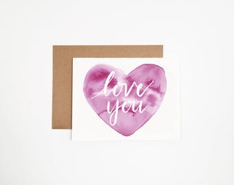 Love You - Valentines Watercolor Heart Card