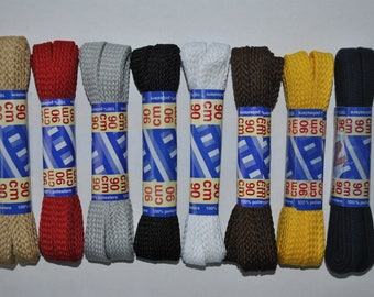 lace ties, shoes, clothes, bag... 90 cm long 8/9 mm wide choice of colors