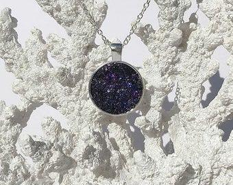 Druzy pendant necklace, galaxy druzy, druzy necklace, druzy pendant, druzy jewelry, geode, under 20 dollars, cabachon, druzy cabachon