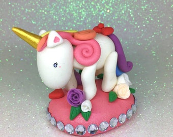 Cute Unicorn Display Set | Clay Rainbow Unicorn Figurine | Custom Made | Miniature Unicorn