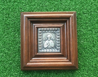 Mini Icon St. Nicholas the Wonderworker - Made with Copper and Silvered and set into a Wooden Frame - Recycled Metals - Saint 6cmx7cm
