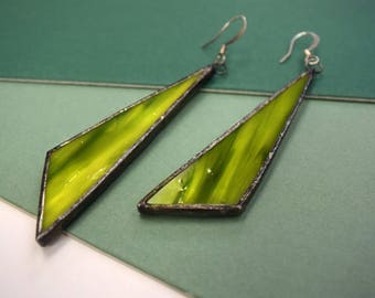 Electric green stained glass earrings