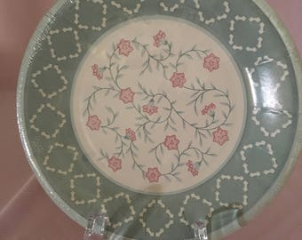 Pink and gray paper plates, 7 inch party paper plates, Free Shipping